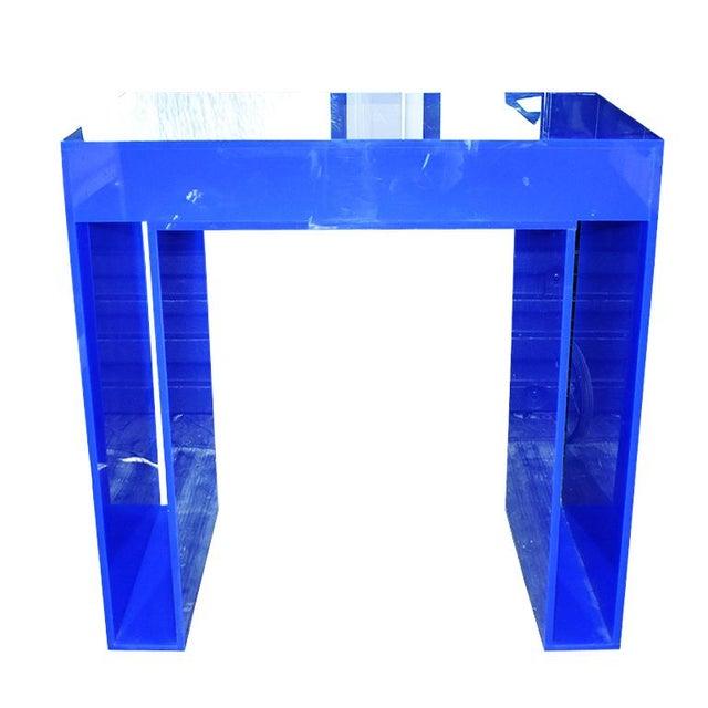 Memphis Group Memphis Style Blue Acrylic Desk For Sale - Image 4 of 7