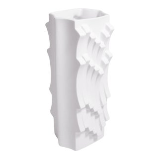 1970s White Op Art Bisque Vase With Wave Design For Sale