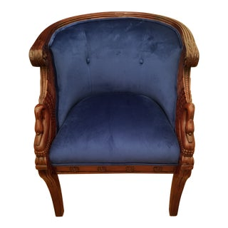 2 Hand Carved Mahogany Swan Tub Chairs For Sale