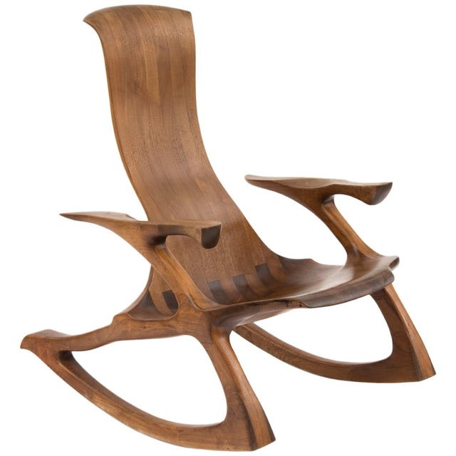 Sculpting 1980s Solid Walnut Studio Crafted Rocking Chair For Sale - Image 7 of 7
