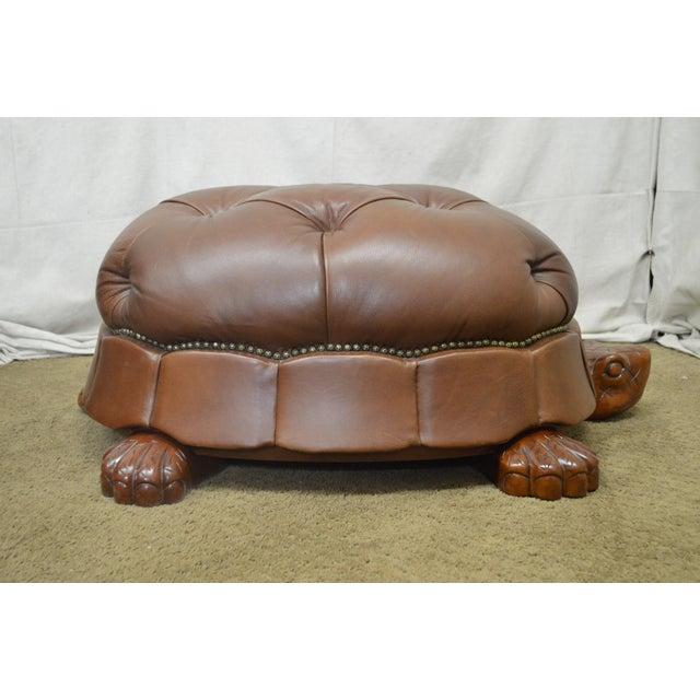 Vanguard Large Tufted Leather Turtle Ottoman Chairish