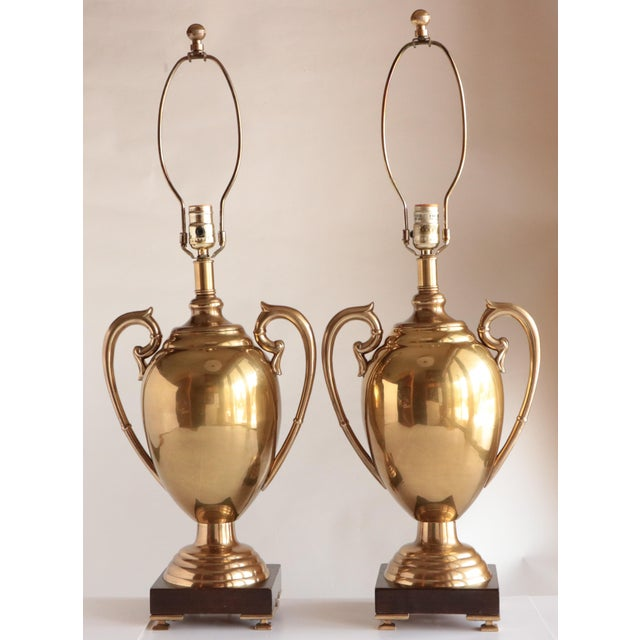 Hollywood Regency Frederick Cooper Brass Trophy Lamps, a Pair For Sale - Image 3 of 8