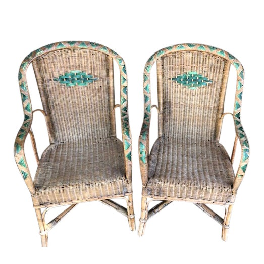 Antique Wicker Chairs-A Pair For Sale