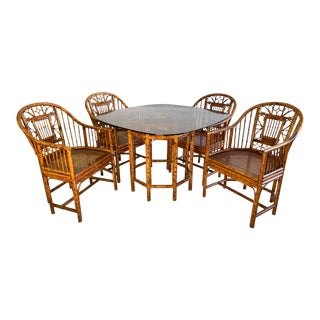 Brighton Pavilion Rattan Dining Set 4 Chairs and Table - Set of 5 For Sale