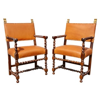 Pair of Italian Baroque Walnut Armchairs For Sale