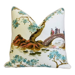 "Chinoiserie Asian Silk & Velvet Floral Feather/Down Pillow 22"" Square"