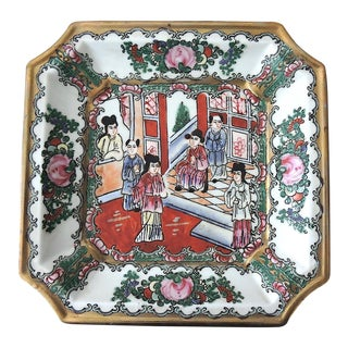 Antique Chinese Rose Mandarin Enamel & Porcelain Figural Square Plate For Sale