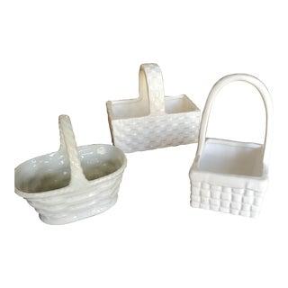 1950s Vintage White Porcelain Baskets- Set of 3 For Sale