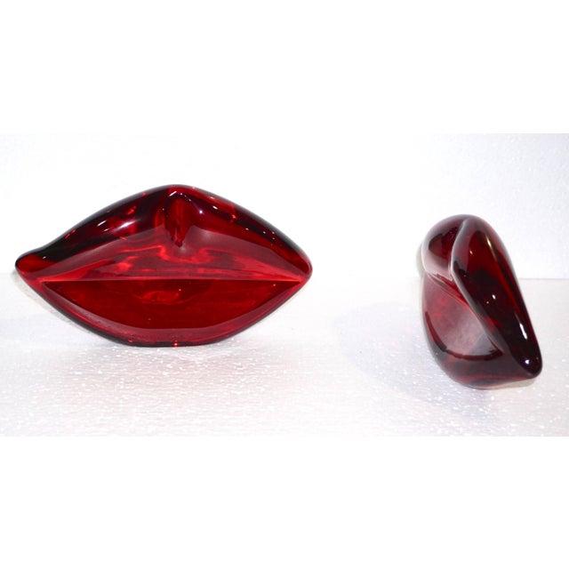 Contemporary Italian Blown Murano Glass Red Lips Decorative Art Sculpture For Sale - Image 9 of 12