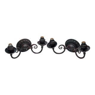 Early 20th Century Bradley & Hubbard Bronze Sconce Set - a Pair For Sale