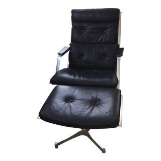 Vintage Fk85 Preben Fabricius & Jorgen Kastholm Chair & Ottoman For Sale