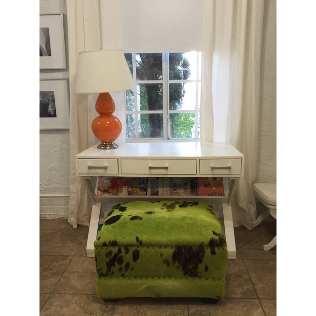 Animal Skin Lime Green Cowhide Ottoman For Sale - Image 7 of 7