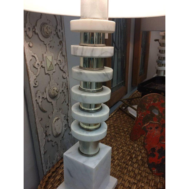 Italian Mid-Century Modern Marble & Chrome Lamps - a Pair For Sale - Image 4 of 6