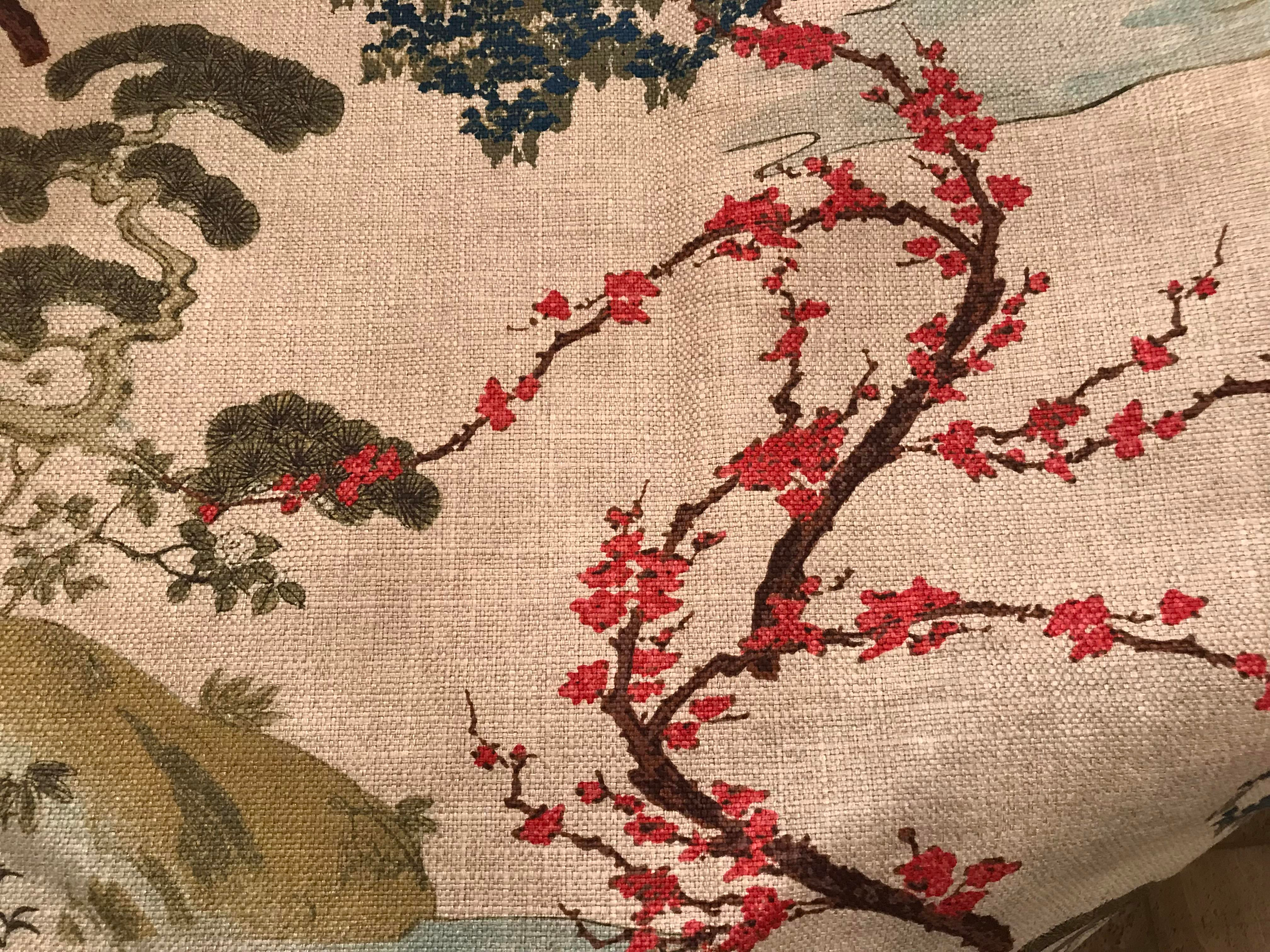Chinoiserie Pagoda Print Fabric 1 1 2 Yards
