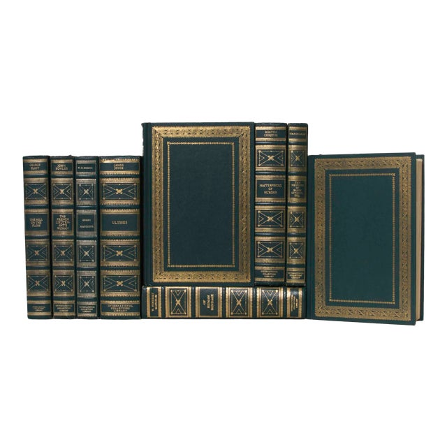 Early 20th Century Collectors Library in Jade Book Set - 9 Books For Sale