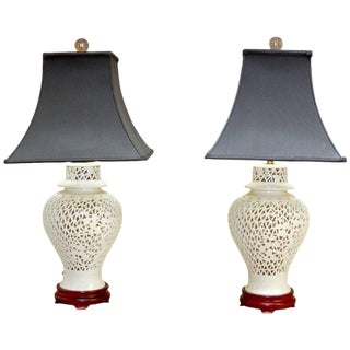 Blanc de Chine Porcelain Ginger Jar Table Lamps - A Pair
