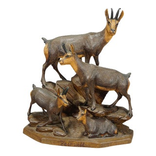 1900s Carved Wood Chamois Family by Ernst Heissl For Sale