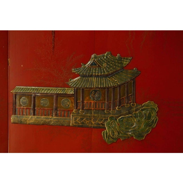 Chinese Hard-Stone & Red Lacquer Screen - Image 6 of 10