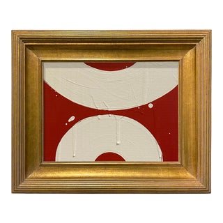 Ron Giusti Mini Wagasa Red and Cream Acrylic Painting, Framed For Sale