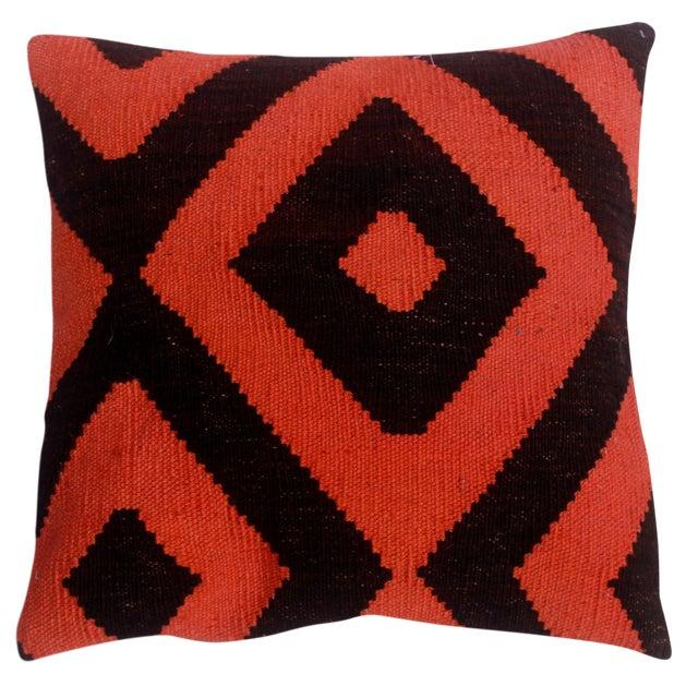 """Diamond Black/Orange Hand-Woven Kilim Throw Pillow(18""""x18"""") For Sale"""