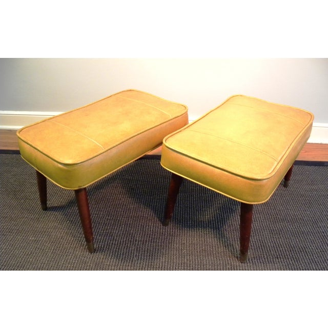 Vintage Mid-Century Gold Ottoman Footrests - Pair - Image 8 of 8