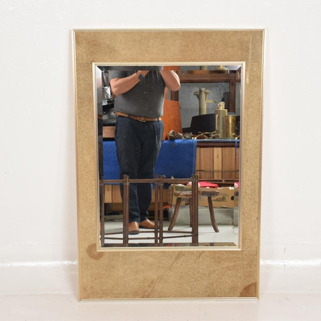 For your consideration, a aluminum and leather framed Wall Mirror by La Barge. Signed and stamped on the back. USA circa...