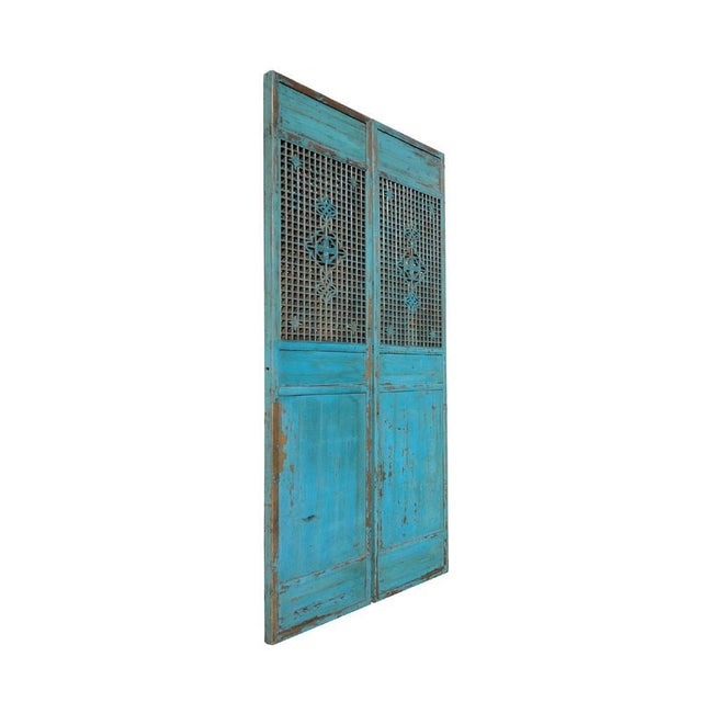 Antique Pair Chinese Tall Blue Flower Carving Screen Panels For Sale - Image 4 of 7