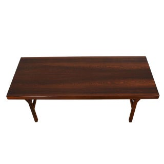 Expanding Danish Rosewood Coffee Table With Shelf For Sale