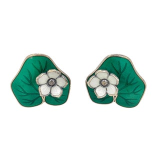 David Andersen Sterling Lily Pad Enamel Clip Earrings For Sale