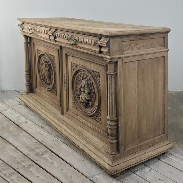 Renaissance 19th Century French Renaissance Stripped Oak Buffet For Sale - Image 3 of 13