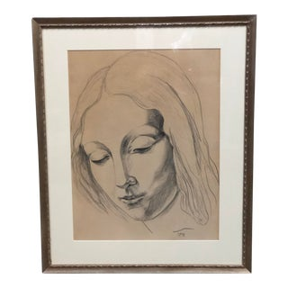 20th Century Mid Century Charcoal Drawing For Sale