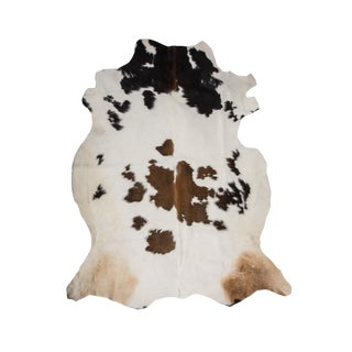 "Premium Aydin Cowhide Rug, Handmade in Europe, White Brown, 6'0""x7'0"""