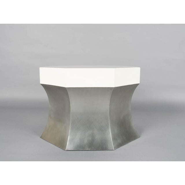 Octagonal Side Table Stainless Steel Cream Lacquer Hand Repoussé Limited Edition Repoussé is the traditional art of hand-...