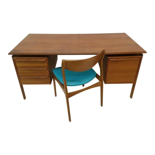 Danish Teak Double Pedestal Desk with Matching Chair For Sale