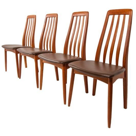 Slim Teak Tall Danish Dining Chairs - Set of 4 - Image 1 of 6
