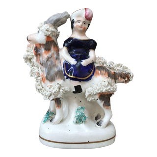19th Century Staffordshire Figure of Girl Riding Goat