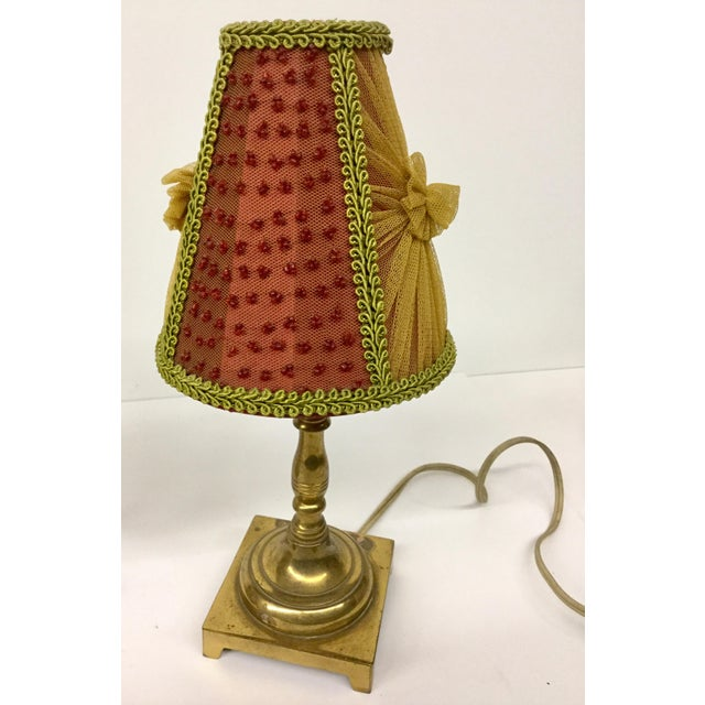 French 1940s Small Vintage Brass Table Lamps With Shades - a Pair For Sale - Image 3 of 13