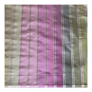 Designers Guild Pink and Green Candy Stripe Silk Fabric- 3 Yards For Sale