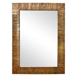 Gold Accented Mica Bark Mirror