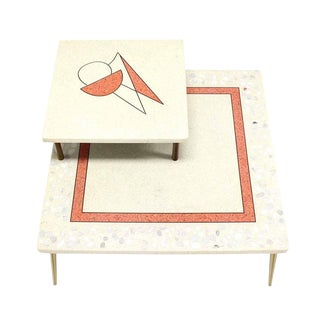 Geometric Design Tapered Legs Travertine Two Tier Corner Table For Sale