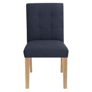 Dining Chair in Linen Navy For Sale