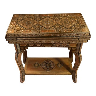 1900s Moorish Syrian Wood Inlaid Game Table For Sale