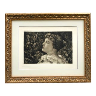 "Original Antique Art Nouveau Portrait Etching Lucille"" by William St. John Harper For Sale"