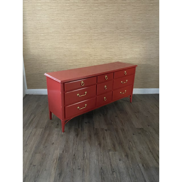 1960s Vintage Thomasville Faux Bamboo Red 9 Drawer Dresser For Sale - Image 5 of 8