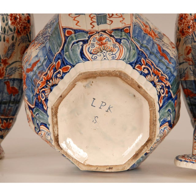 Antique French Delftware Pottery Tinglazed Vases & Covers - Set of 3 For Sale - Image 9 of 12