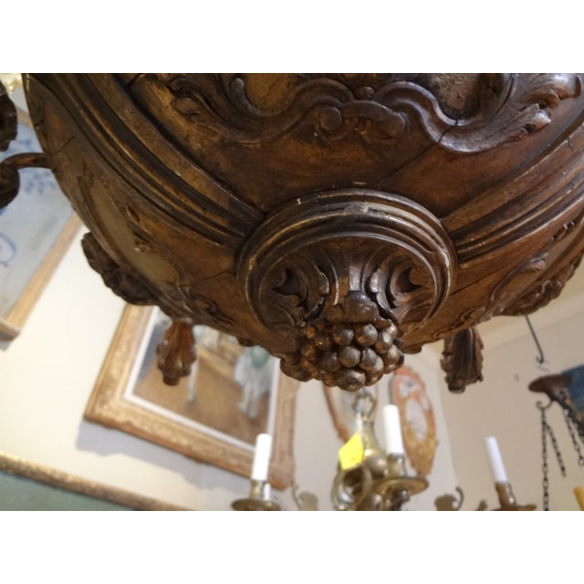 Metal French Iron and Carved Wood Chandelier For Sale - Image 7 of 11
