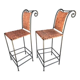 Scrolled Iron & Woven Leather Bar Stools - A Pair