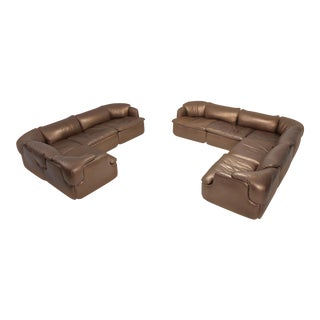 Bronze Leather Saporiti High-End Sectional Sofa 'Confidential' For Sale