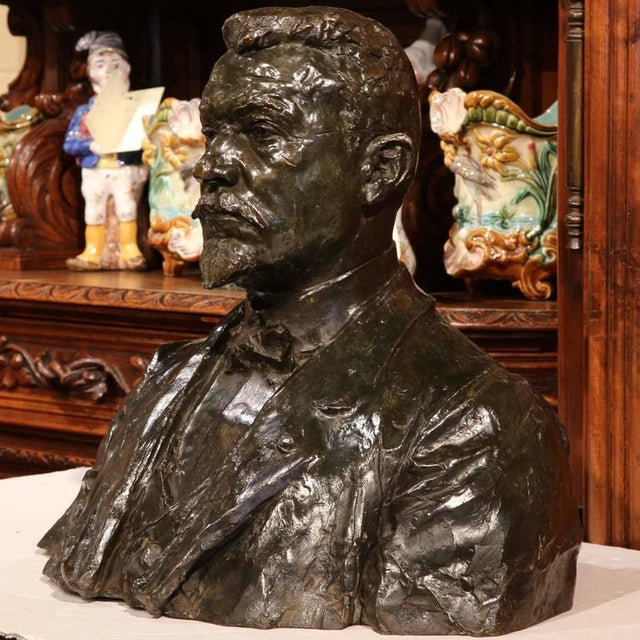 """Large 20th Century French Bronze Bust Signed """"A. Descatoire"""", 1913 - Image 2 of 8"""