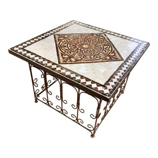 Moroccan Square Brown and Grey Mosaic Tile Coffee Table on Iron Base For Sale